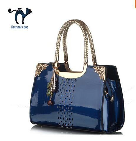 ФОТО Bags Real free Shipping 2015 Russia Style Women Hollow Out Leather Handbag Tote Crossbody Bolsas Genuine Patent Messenger Bag