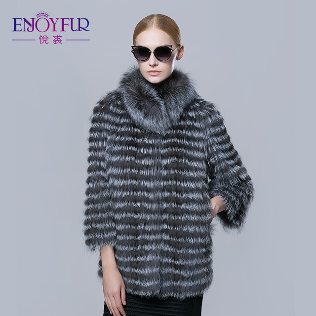 d9cbdbf0986 ENJOYFUR new real silver fox fur strip coat for winter women outwear fur  jacket 2016 Russian