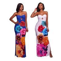 Adogirl Plus Size XXXL Big Flower Printed Strapless Women High Split Sexy Party Dresses Hot Sale