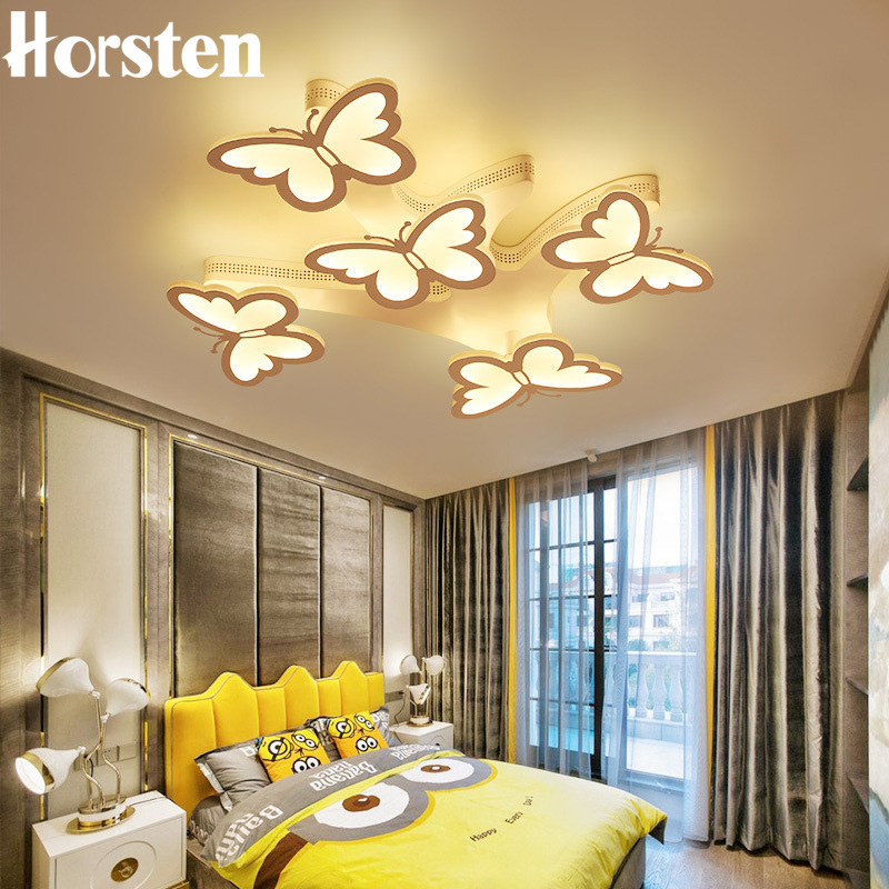 Modern LED 5 Butterfly Ceiling Chandeliers Creative Acrylic Iron Dimmable Chandelier Lamp For Living Room Bedroom Home Lighting wrought iron chandelier island country vintage style chandeliers flush mount painting lighting fixture lamp empress chandeliers