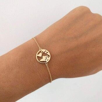Stainless Steel World Map Bracelets For Women Travel Jewellery Rose Gold Chain Friendship Sister Gifts Globe Bracelet Femme BFF