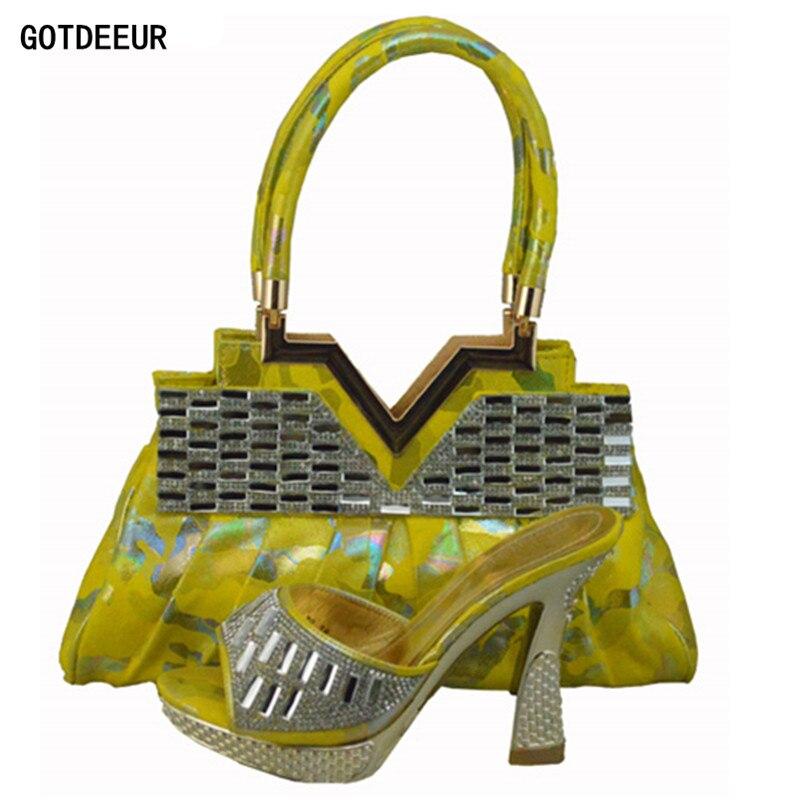 Bolsos Nuevos Juego Y Mujeres Para Los Conjunto amarillo Las Rhinestone Decorado Con Naranja Bolsa Partido Zapatos A Italianos fuchsia qISwIr