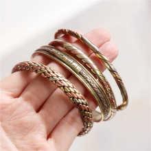 Индийские ювелирные изделия красная медь обернутые открытые манжеты Тонкий браслеты для девочек BB-218