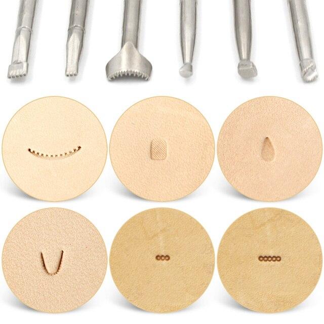 6Pcs DIY Leather Working Saddle Making Tool Kit Leathercraft Tools Set for Leather Craft Working Leather Carving Printing Stamp