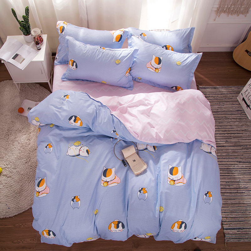 Nyanko-sensei Home Textile Stripe And Lattic Bedding Set Bed Cover Bed Sheet Duvet Cover Pillowcase Bed Linen Bedclothes Queen