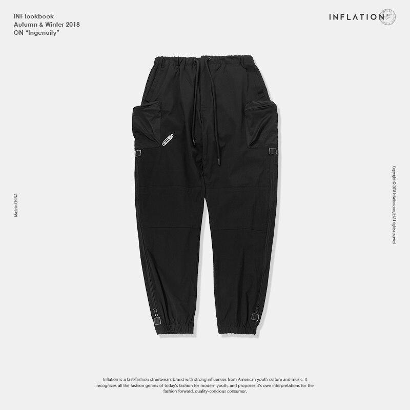 Инфляция боковой карман Jogger Брюки мужские s лодыжки окаймленные брюки 2018 модные уличные тактические брюки повседневные брюки для мужчин 81194...