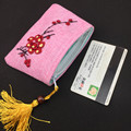 Ribbon Embroidery Zip Jewellery Bag Chinese Tassel Unique Coin Purses Small Linen Gift Pouch Women Bus credit card holder case