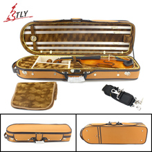 New Plywood & Nubuck Leather Rectangle Full Size Violin Case Big Storage Space 4/4 Violino Case w/ Hygrometer Belt(China)