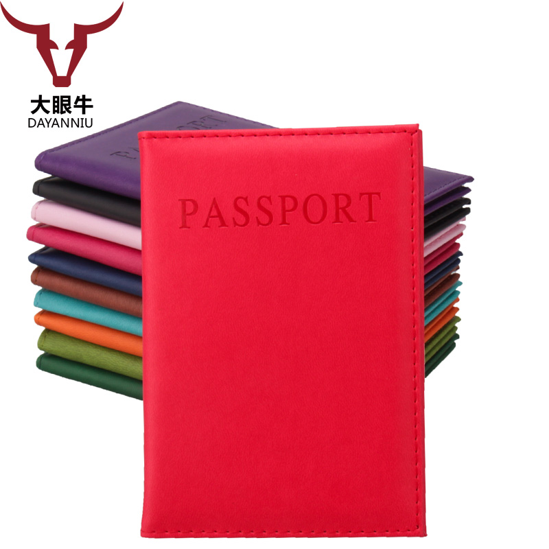 Artificial Leather Solid Candy Color Passport font b Holder b font Couple Models Women s Travel