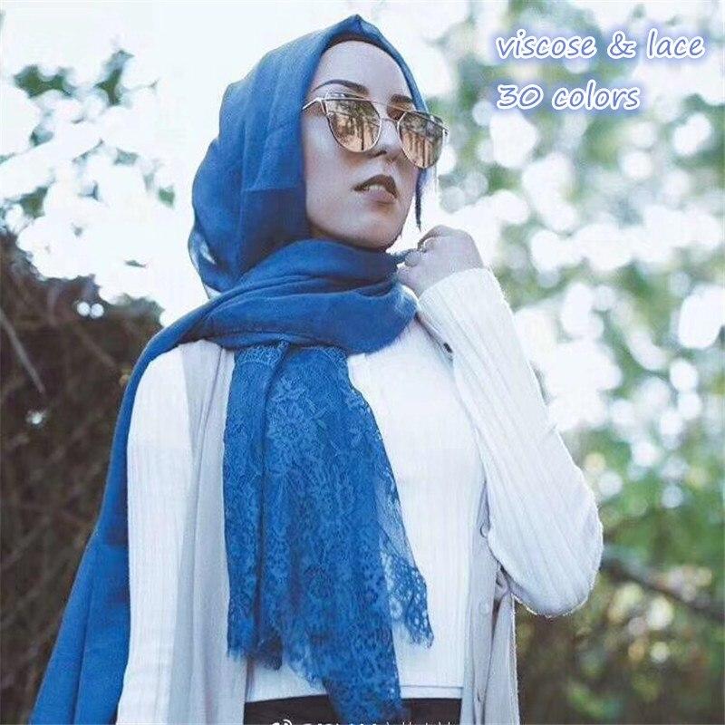 Hot sale fashion solid plain luxury viscose flower lace elegant women scarf scarves shawls muslim hijab