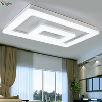 Modern Minimalism Remote Control Dimmable Led Ceiling Light 2 Layers Matte White Metal Thick Acrylic Led