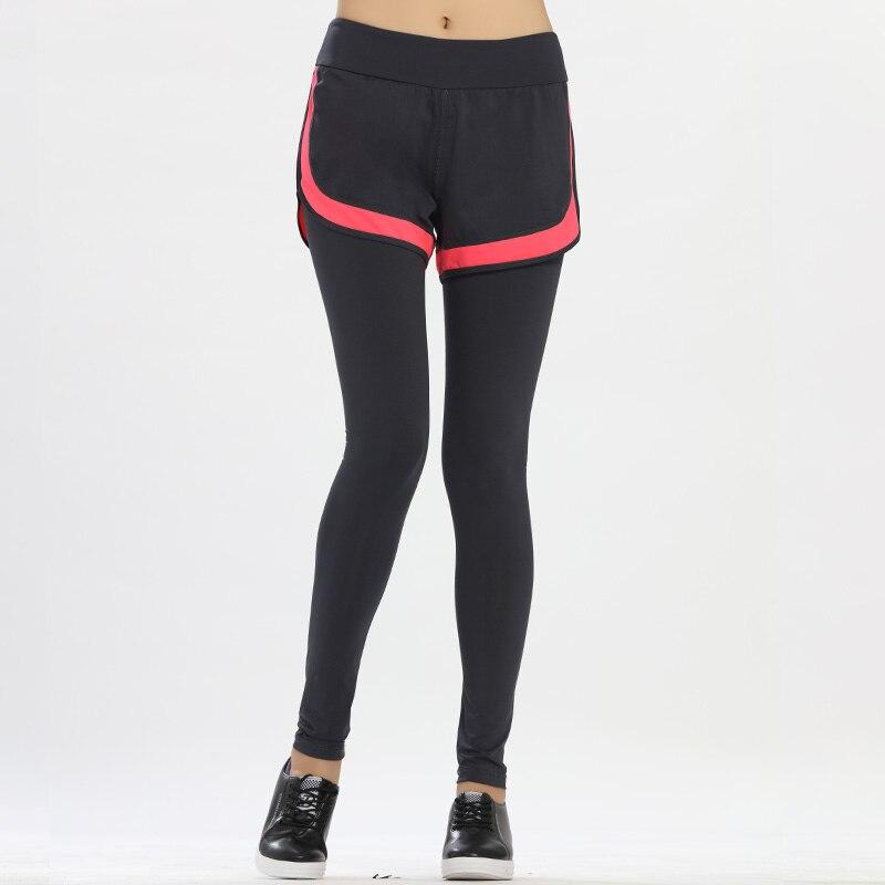 De las mujeres 2 en 1 fitness training running pantalones elasticidad leggings d