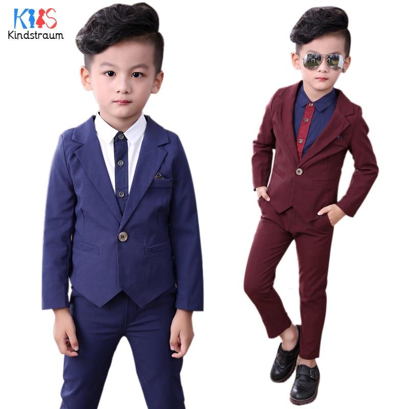 Kindstraum 2018 New Boys Clothing Sets 2pcs Solid Cotton Blazer+Pant Kids Formal