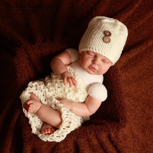 Новорожденный фотографии реквизит крючком стрелять одежда 2 цвета шапочка с кнопкой + одеяло ручной вязки 0-3month ребенок фото одежда