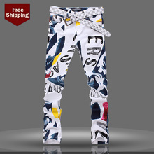 male pants Spring summer  thin jeans hair stylist fashion garment printing Metrosexual Korean cultivating flower male trousers
