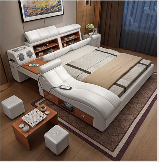 Genuine Leather Bed Frame Soft Beds Massager Storage Safe Speaker LED Light Bedroom Cama Muebles De Dormitorio / Camas Quarto