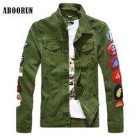 ABOORUN Fashion Mens Denim Jackets Patchwork Single Breasted Jeans Coat White Green YC1088