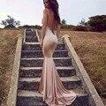 Robe De Soirée Spahetti Correas Backless Atractivas Largas Vestidos de Baile Apliques de Encaje Vestidos de Noche 2017 de La Moda Vestido Longo
