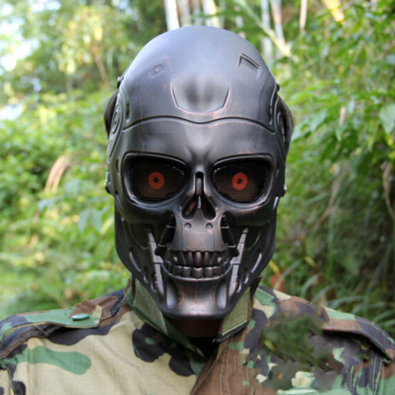 Ear-protective Terminator Full Face Mask Airsoft Paintball Mask  halloween protective CS Wargame Field game Cosplay Movie Prop chief sw2104 skull style full face mask for war game cs black