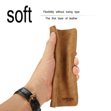 Money clip long section of ultra-thin retro wallet male leather youth first layer of leather wallet Soft cow leather  coin bag