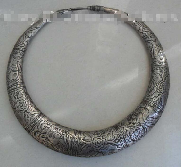 Tribe Exotic Chinese Handmade Miao Silver NecklaceTribe Exotic Chinese Handmade Miao Silver Necklace