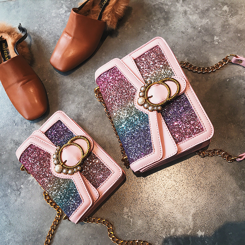 2018 Big Small Rainbow Color Sequins Shoulder Bag Women Pearls Pendant Hand Bags Female Casual Crossbody Bags Cute Shine Bag