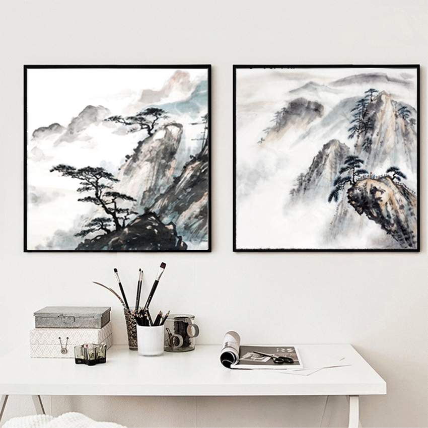 Fundecor Fashion Chinese Style Vintage Home Art Decor: Vintage Chinese Landscape Paintings Ink Painting Style