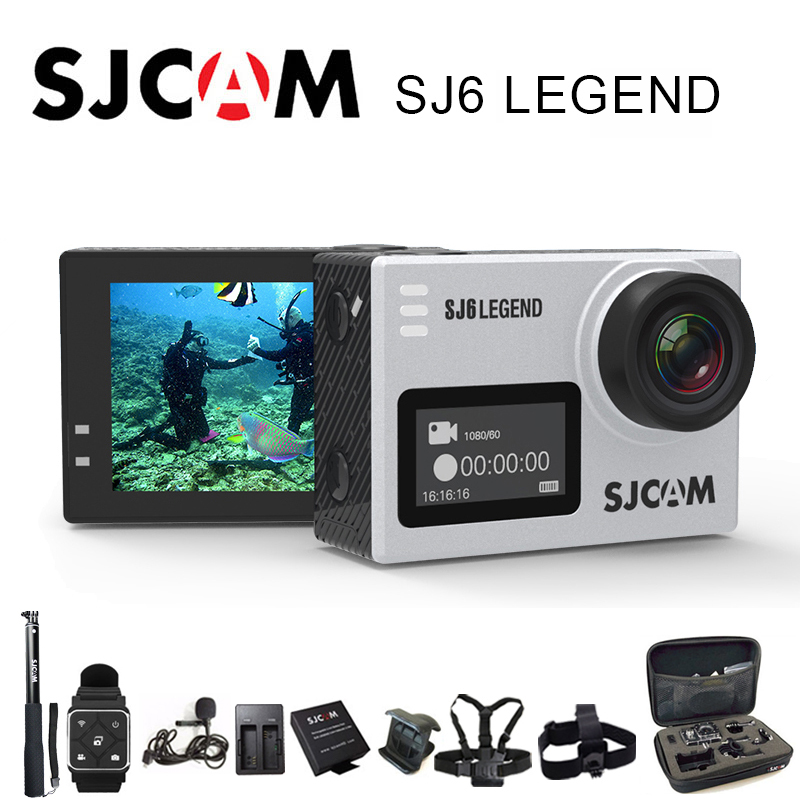 SJCAM SJ6 Legend Sport Action Camera 4K Wifi 30m Waterproof 1080P Ultra HD 2 Touch Screen Notavek 96660 Remote Sport DV soocoo s100 pro 4k wifi action video camera 2 0 touch screen voice control remote gyro waterproof 30m 1080p full hd sport dv