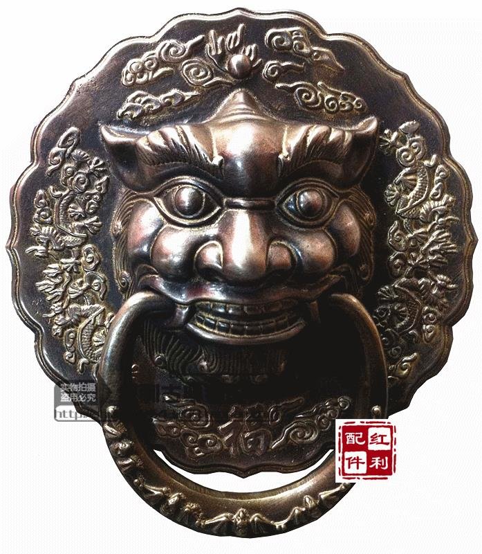 Classical Chinese antique bronze brass knocker copper fittings copper Shoutou door handle tiger lion head 27cm china brass copper fengshui guardian town house evil foo dog lion statue pair