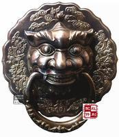 Classical Chinese Antique Bronze Brass Knocker Copper Fittings Copper Shoutou Door Handle Tiger Lion Head 27cm