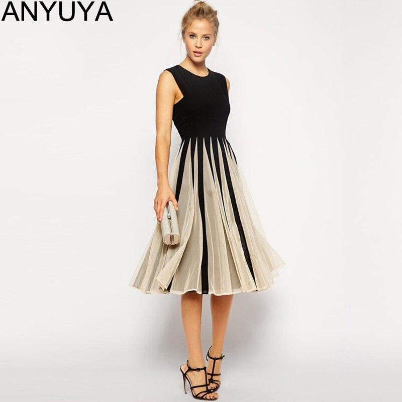 6ed99d4d3 Women Summer Dress 2015 Vestidos Sleeveless Black Chiffon Knee length O  neck Vintage Casual Dresses DR0003 en Vestidos de La ropa de las mujeres en  ...