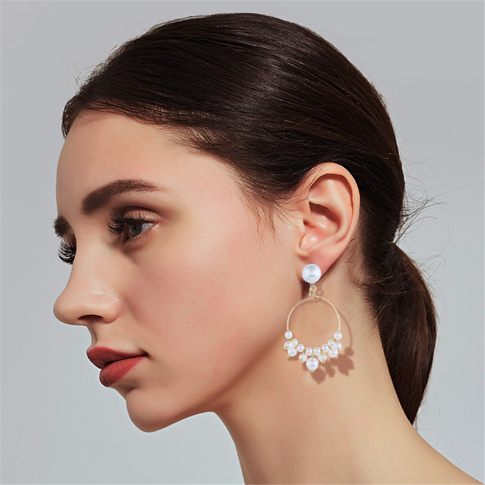 CRLEY Top Quality Freshwater Pendant Drop Earrings for Women Round Long Tassel Gold Circle Bridal Earing