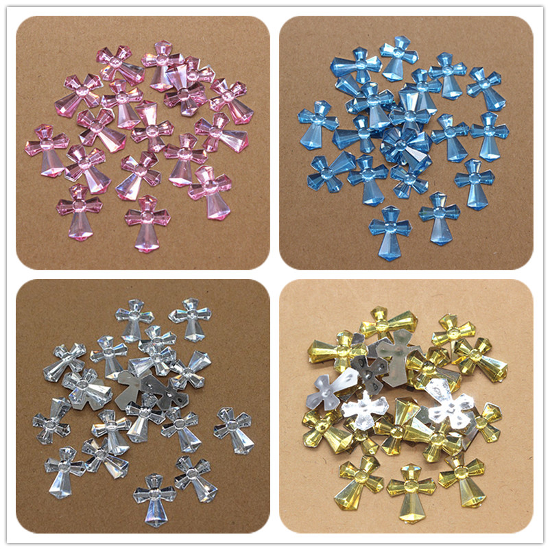 100pcs 14*18mm Acrylic Cross Charm Flatback Cabochon Embellishment Accessories DIY Craft Scrapbooking