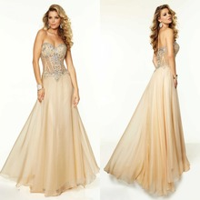2015 Exquisite A-line Bodenlangen Backless Chiffon Abendkleid Sweetehart Sleeveless Langes Abend Formale Kleid Kristalle F1075