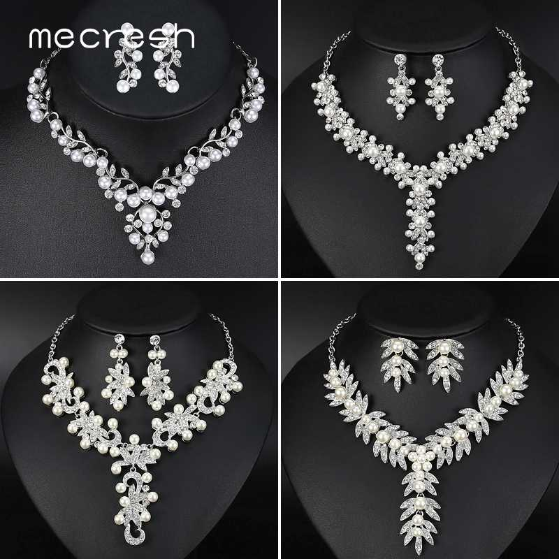 Mecresh Simulated Pearl Bridal Necklace Sets Wedding Engagement Jewelry Crystal Leaf Women Wedding Necklace Earrings Set TL522