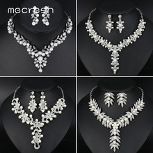 Mecresh Simulated Pearl Bridal Necklace Sets Wedding Engagement Jewelry Crystal Leaf Women Wedding Necklace Earrings Set TL522(China)