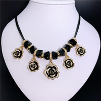 2b44b0891f51 N102 Flower Camellia Jewerly Esmaltes Enamel Jewlery Colares Collier  Neckless Necklaces Collares Mujer For Women 2019