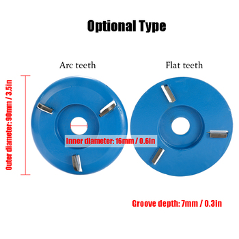 90mm Diameter 16mm Bore Power Wood Carving Disc Milling Cutter Attachment Three Six Teeth Arc/Flat for Angle Grinder Attachment 4