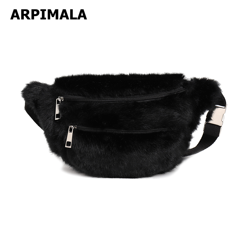 Arpimala Women Faux Fur Fanny Pack White Black Fur Chest -5266