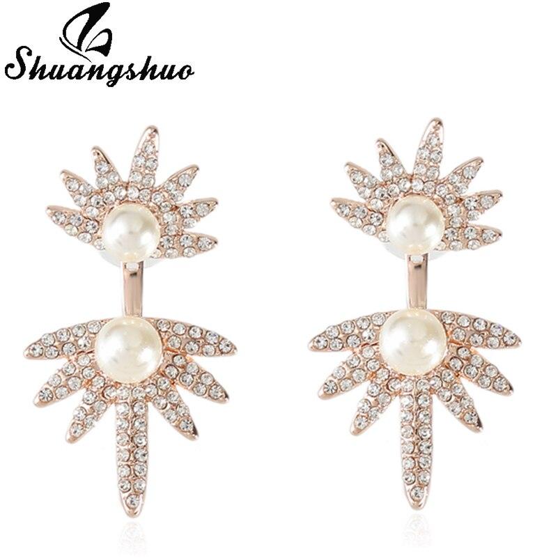Shuangshuo Divergent Earring Jackets Pearl Earrings For Women Silver Crystal Fashion Geometric Earing On Aliexpress Alibaba