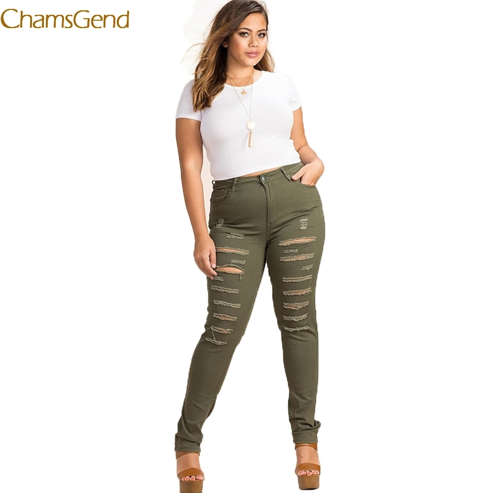 11.11.2017 Women Plus Size Army Green High Waist Distressed Skinny Jeans Trousers Ripped Big Size Pencil Pants 3XL 4XL 5XL 6XL