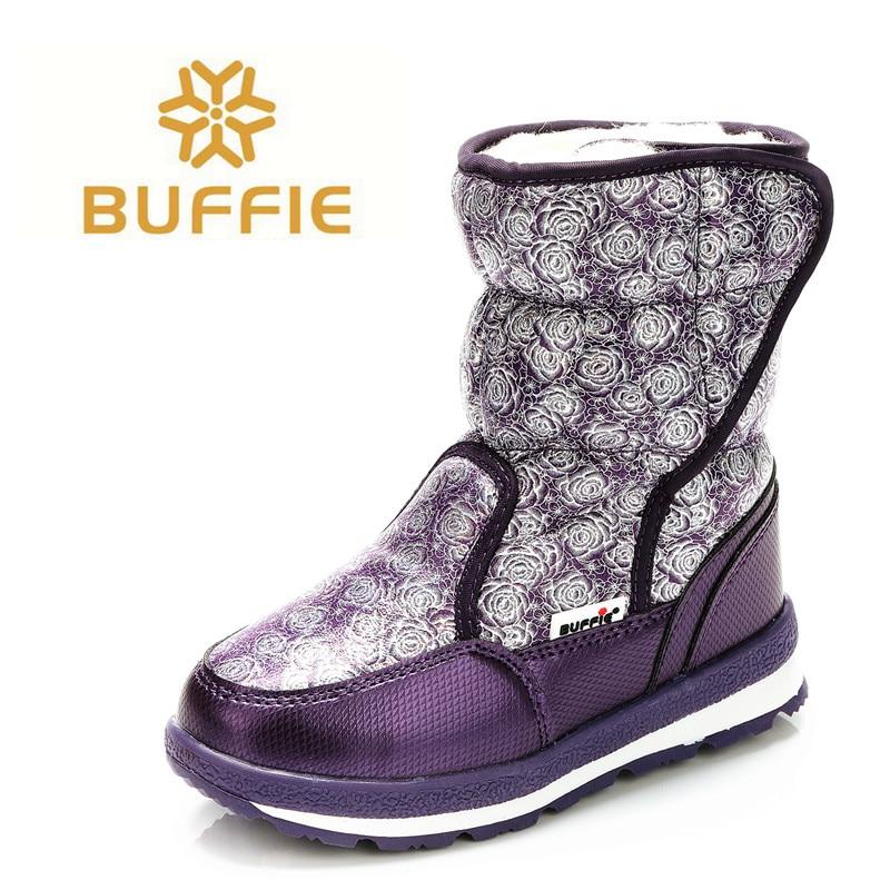 Фиолетовый Для женщин ботинки Буффи брендовые зимние сапоги Зимняя обувь полный размер противоскользящей подошвой теплая меховая подклад...