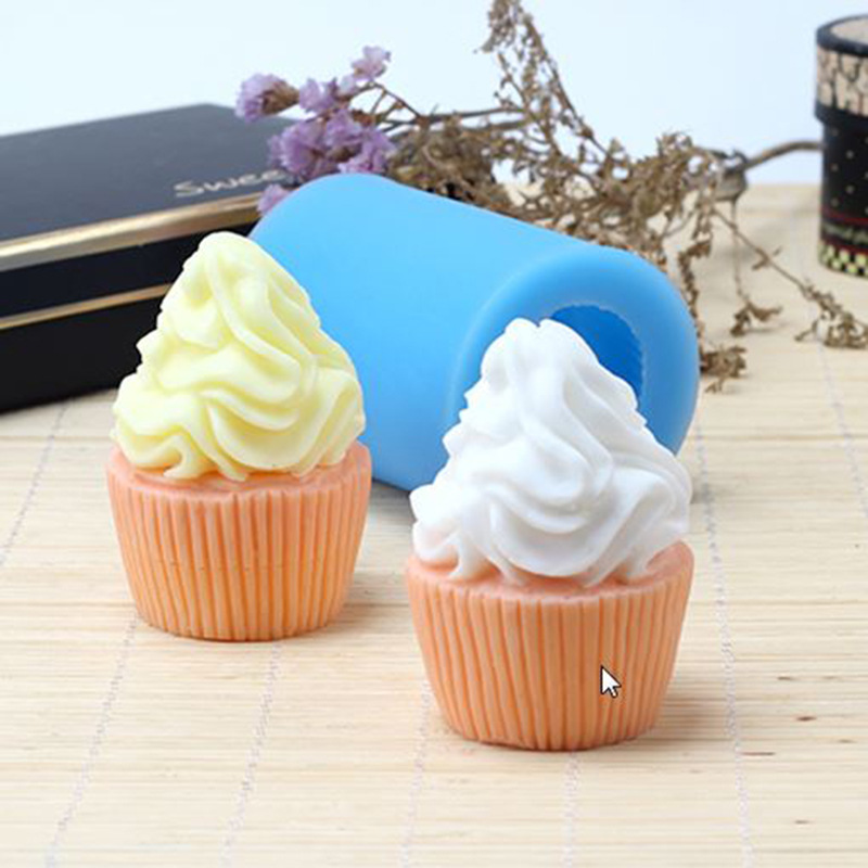 3d Ice Cream Shape Soap Mold Craft Rose Silicone Soap Making Mould Candle Resin Handmade Mold