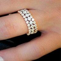Два небольших полных кольца в 2 мм Df Moissanite в 14 к Желтое золото и большой один 2,5 мм кольцо 2,5 мм в 14 к белое золото (3 кольца)