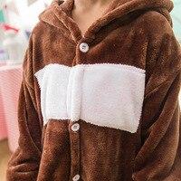 Зимние фланелевые толще милый ребенок медведь мультфильм животных сиамские пижамы дети модели