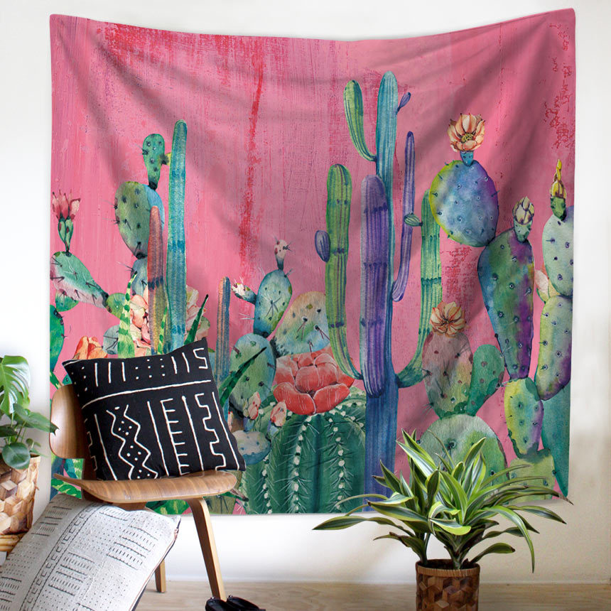 Image 2 - Plant Cactus Window Tapestry Macrame Wall Hanging Beach Towel Sitting Blanket Mexican Home Decoration Boho College Dorm Decor-in Tapestry from Home & Garden