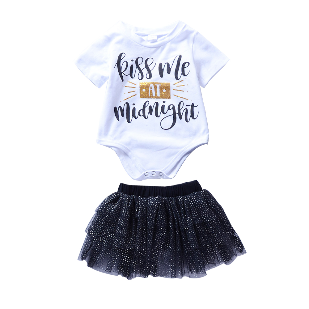 Infant Baby Chidlren Girls Clothes Suits White Tops Kiss ME Romper+Black Dot Skirt Bebe Kids Girls Summer Casual Kleding 0-24m
