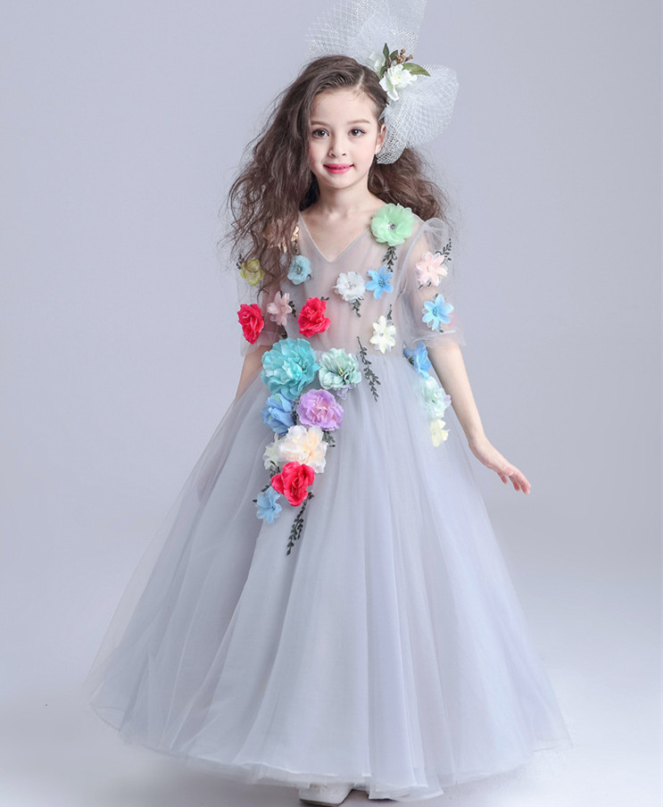 Girls Dress 2018 for Party and Wedding Dress Summer Princess Gown Floral Dress for Kids Girl Maxi Long Dress Costumes Vestido стоимость