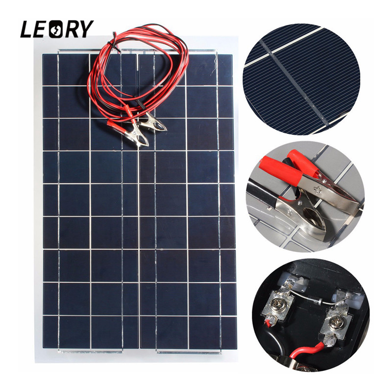 LEORY 12V 30W PolyCrystalline Solar Panel With 4m Alligator Clip Wire DIY Solar Cells Battery Charger Multipurpose 540x350mm 1m 15m photovoltaic solar cells back sheet tpe tedlar film for diy solar panel encapsulation