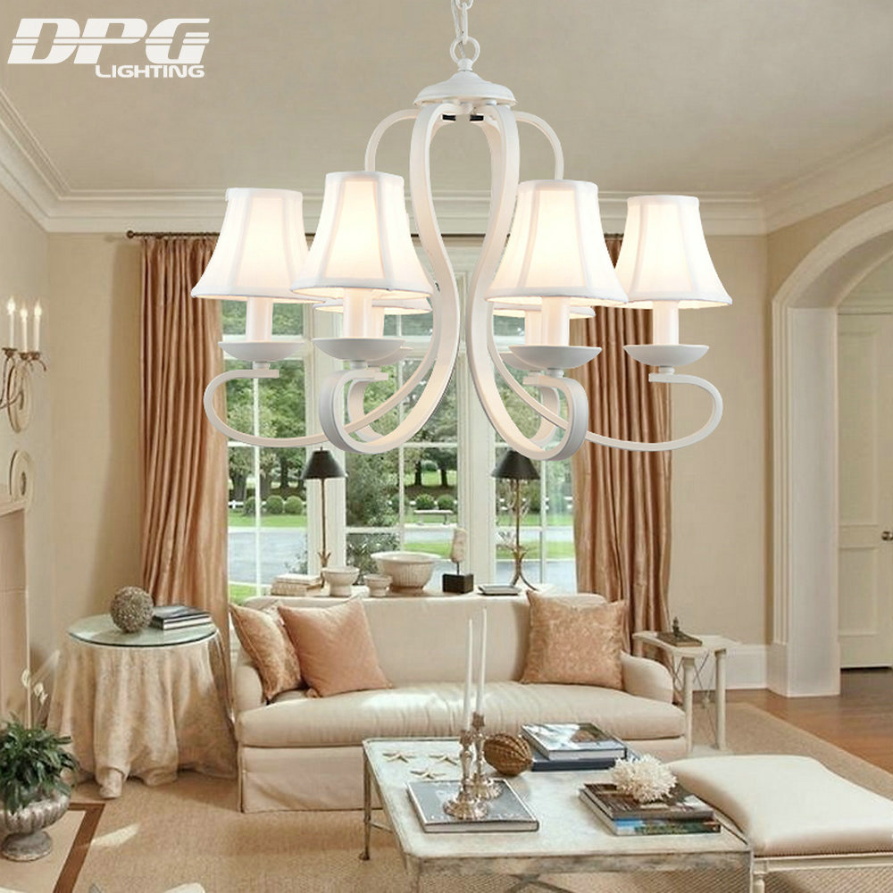 White Fabric Shade Iron Chandelier Lighting Fixtures luminaria lustre Ceiling Chandeliers E14 Light for Bedroom living